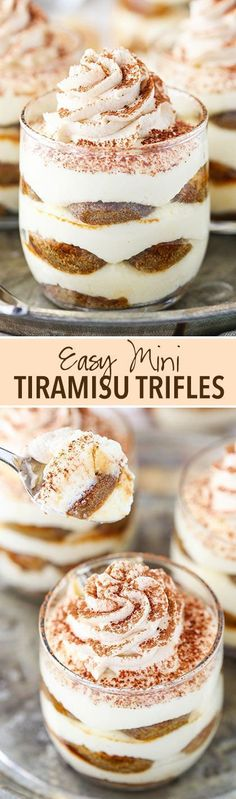 Mini Tiramisu Trifles Desserts Recipe via Life Love and Sugar - These are super easy to put together and have a layer of mascarpone cheese, ladyfingers and espresso! They are delicious and and a fun, quick way to enjoy one of my favorite desserts! The BEST Bite Size Dessert Recipes - Mini, Individual, Yummy Treats, Perfectly Pretty for Your Baby and Bridal Showers, Birthday Party Dessert Tables and Holiday Celebrations!