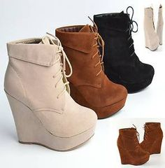 Ankle Boots Faux Suede Wedges Closed Toe Booties