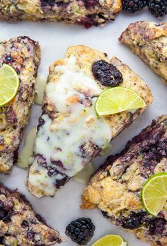 Blackberry Lime Scones Fresh blackberries and a vibrant pop of lime make these scones irresistible! Marshmallow Desserts, New Recipes, Cooking Recipes, Favorite Recipes, Cooking 101, Summer Recipes, Breakfast Recipes, Dessert Recipes, Gourmet