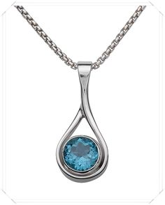 Ed Levin Sterling Silver Pendants with Gems (Blue Topaz shown here) - matching earrings available - call The Jewelbox in Ithaca, NY: 1-800-711-7279 for price and availability!