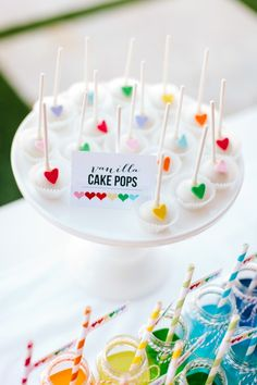Cake pops for a rainbow heart party! -The TomKat Studio
