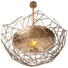 Statement bronze rod and hand made bronze dish chandelier