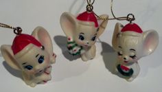 Vintage Set of Three White Mice Christmas Tree by CZamore on Etsy, $5.00