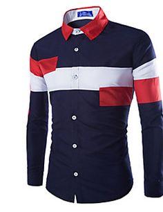 Trendy Slimming Shirt Collar Multicolor Irregular Splicing Long Sleeve Polyester Shirt For Men Stylish Shirts, Cool Shirts, Long Sleeve Shirt Dress, Long Sleeve Shirts, Dress Shirts, Suit Fashion, Mens Fashion, Gents Kurta, Mens Designer Shirts