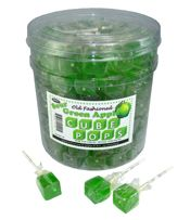 The great taste of green apple in a lollipop that is shaped like the old fashioned cube pops.