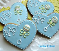 Baby Rattle Decorated Sugar Cookies Baby Shower Cookie Favors