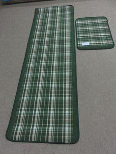 Green Beige Tartan Check Short Pile Kitchen Runner Rug Non Slip Back Free Mat