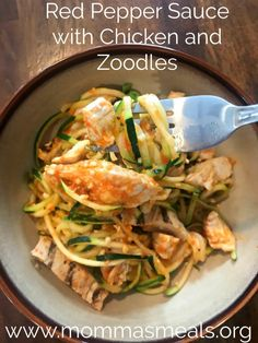Red Pepper Sauce with Chicken and Zoodles is a great way to eat healthy! You won't even miss the pasta.
