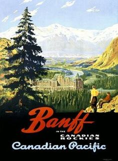 VintageArte - Canadian Pacific Banff Railway Poster : Posters and Framed Art Prints Available
