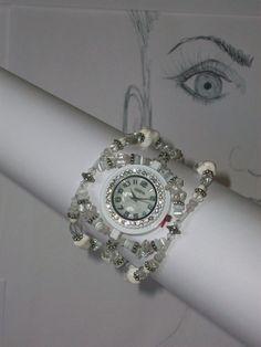 Beaded Crystal Watch Pearl Watch Gemstone Watch by CrystalCuffs