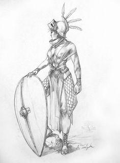 Shield Maiden Adult Fantasy Art Original Drawing by bytheoakArt