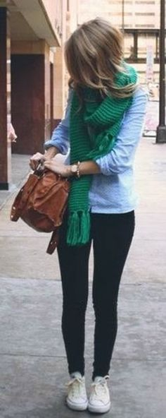 Ador--love the green scarf; the whole look reminds me of my high school days | Gloss Fashionista