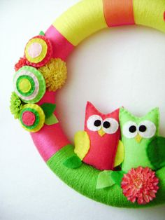 Felt and Yarn Wreath - Summer Bloom - Made to Order - Hot Pink and Lime Owl Pair. $75.00, via Etsy.