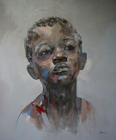 African Boy by Ryan Hewett >> oil on canvas