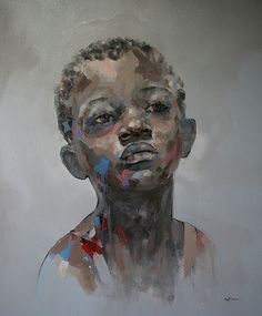 Cultured Art --- African Boy by Ryan Hewett >> oil on canvas