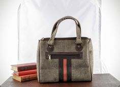 Retro Tweed Purse with Red Green Stripe  Vintage by LoAndCoVintage