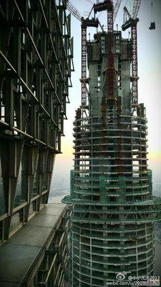 Shanghai Tower   121 floors l Jan 2013. Architechture, lines, cranes, blue sky, building, construction, stunning, photograph, photo