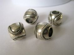 4 Silver Tone Baseball Sport beads by 2MoonswithCharm on Etsy