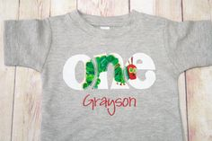 "$25 The ""Very Hungry Caterpillar"" Birthday Shirt - Birthday ONE Shirt - Boy Birthday Outfit - Birthday Age Shirt for Boys"