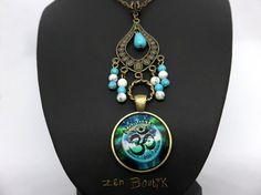 Collier Zen Om Namaste Aum Turquoise Médaillon Aum Om par ZenBoutik