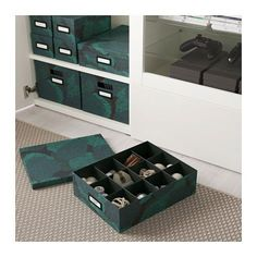TJENA Box with compartments - black-blue - IKEA, $5.99