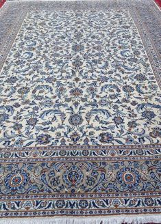 Authentic Vintage Handmade Persian Carpet Area Rug Kashan White and Blue 10x13 $5,999.99