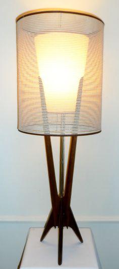 """Vintage Mid-Century Danish Modern 42"""" Teak Lamp Rocket Atomic Tripod Base Eames Era"""