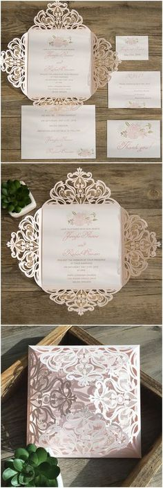 feminine blush pink laser cut wedding invitations 2016 trends EWWS077