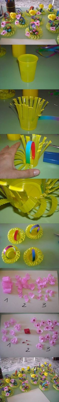 DIY Plastic Cup Flower Basket DIY Projects - so cute for Easter place cards, table decor, or giving little treats. Kids Crafts, Diy And Crafts, Paper Crafts, Spring Crafts, Holiday Crafts, Craft Tutorials, Craft Projects, Free Tutorials, Plastic Bottle Crafts