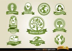 Green labels collection for the earth day