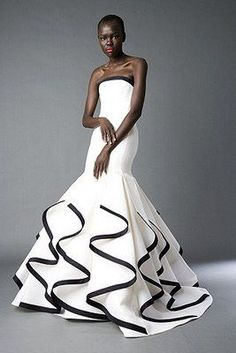 black and white gowns for wedding Black And White Gowns For Fantastic Party Wedding Robe, Ribbon Wedding, White Wedding Dresses, Formal Dresses, Vetements Clothing, Vestidos Fashion, White Fashion, Beautiful Gowns, White Dress