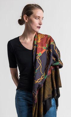 Avant Toi Felted Silk Saddle Print Scarf in Girasole   Santa Fe Dry Goods & Workshop #avanttoi #felted #silk #cashmere #scarf #print #scarves #edgy #fashion #style #clothing #santafe #santafedrygoods