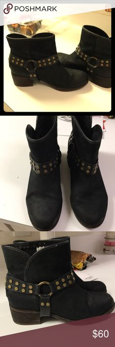 Ugg black boots Black leather suede ankle boots with gold studs. Made by ugg. Worn but still look great. There are scuffs but still in good condition. UGG Shoes Ankle Boots & Booties