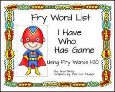 "FREE LANGUAGE ARTS LESSON - ""I Have Who Has Game using Fry Word List words 1-50 FREE"" - Go to The Best of Teacher Entrepreneurs for this and hundreds of free lessons. Pre-Kindergarten - 1st Grade    #FreeLesson    #LanguageArts    http://www.thebestofteacherentrepreneurs.org/2016/07/free-language-arts-lesson-i-have-who.html"