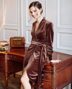 ddfb58c0e65 Deep Taupe velvet LikeAnActress wrap dress   adult women skirt velvet brown  chocolate chic casual outfit black friday sale cyber week