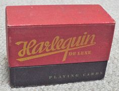 Vintage boxed double pack of Harlequin De Luxe Playing Cards. Each pack is complete with 52 playing cards and 3 special jokers. Cards & box are in very good condition. Vintage Box, Playing Cards, Joker, Packing, Bag Packaging, The Joker, Cards, Jokers, Game Cards
