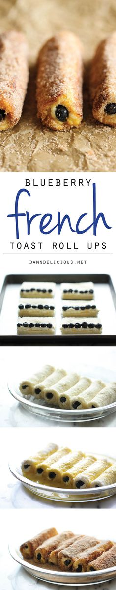 Blueberry French Toast Roll Ups @FoodBlogs