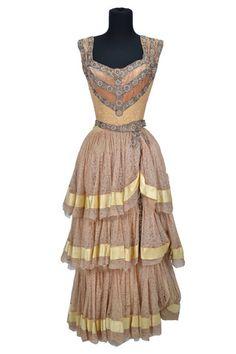 "Vera-Ellen ""Luisa Molina"" beige lace period dress designed by Rene Hubert from Carnival in Costa Rica $1,600.00    (TCF, 1947) Beige lace th..."