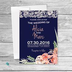 Navy Wedding Invitation Rustic Wedding by MemorableImprints