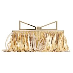 Sara Battaglia Lady' clutch gold ($1,285) ❤ liked on Polyvore featuring bags, handbags, clutches, gold clutches, gold handbag, sara battaglia and gold purse