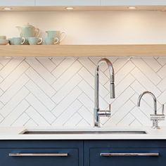 Love these herringbone backsplash tiles? Apartment Kitchen, Home Decor Kitchen, Interior Design Kitchen, Home Kitchens, Kitchen Wall Tiles, Kitchen Backsplash, Chevron Kitchen, Herringbone Wall, Herringbone Backsplash
