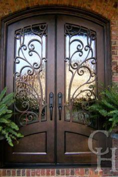 Double Front Entry Doors, Iron Front Door, Front Doors With Windows, Glass Front Door, Custom Exterior Doors, Double Doors Exterior, Front Door Design, Window Design, Double Door Design