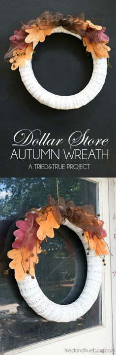 if you love dollar store crafts, you're going to love this $5 wreath - so fabulous for fall and VERY budget friendly!
