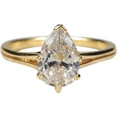 Pear Cut Solitaire Diamond Ring 14k Gold 1.55ctw