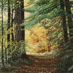 Beautiful fabric art - machine embroidered scene! It makes you want to take a walk toward the sunlight....