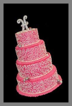 Wedding Cales, Round Wedding Cakes, Hot Pink Weddings, Cute Cookies, Wedding Wishes, Wedding Cake Toppers, Yummy Cakes, Amazing Cakes, Eat Cake