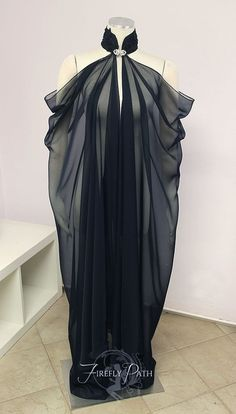 ~Black Elven Cape~ The perfect addition to your gown to transport you into the fantasy realm! Sweeping chiffon falls from the beaded collar. The cape