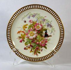 Minton Style Pierced Border Floral Plate