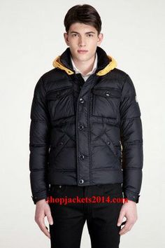 Moncler Outlet UK Rentilly Men Black Yellow Down Jacket