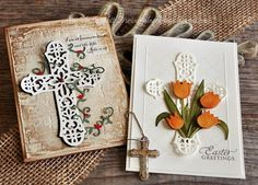 Vladka Serbinek: Creative Chest for CottageBLOG: Ornate Cross - 2/6/13 (dies: Ornate Cross; Watering Can & Tulips; Trellis & Vines.)  (Pin#1: Easter: Religious.  Pin+: Religious Occ...; Dies: CottageCutz)